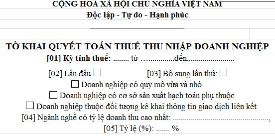 Tờ khai quyết toán thuế thu nhập doanh nghiệp Mẫu 03/TNDN