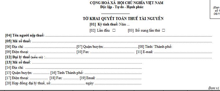 Tờ khai quyết toán thuế tài nguyên mẫu số 02/TAIN