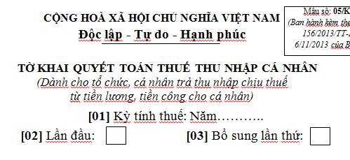 Tờ khai quyết toán thuế thu nhập cá nhân mẫu số 05/KK-TNCN