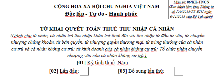 Tờ khai quyết toán thuế TNCN mẫu 06/KK-TNCN