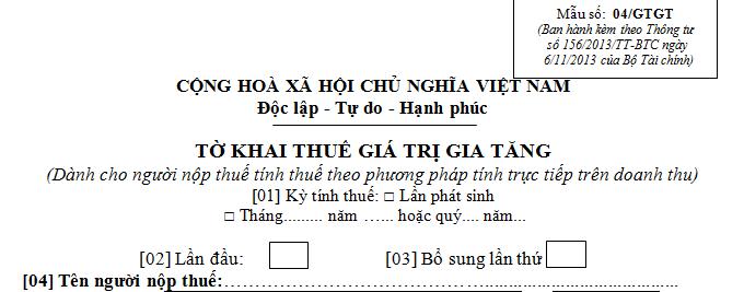 Mẫu tờ khai thuế GTGT theo phương pháp trực tiếp Mẫu số 04/GTGT
