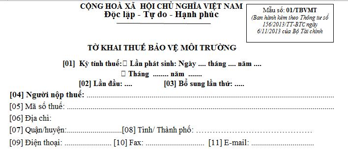 Tờ khai thuế bảo vệ môi trường mẫu số 01/TBVMT