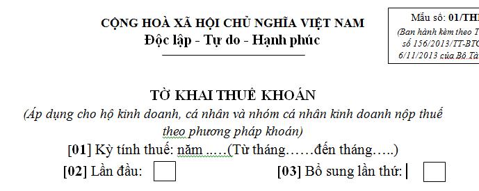 Tờ khai thuế khoán mẫu số 01/THKH