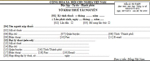 Tờ khai thuế tài nguyên Mẫu số 01/TAIN