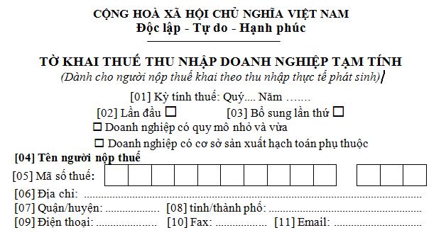 Tờ khai thuế TNDN tạm tính mẫu 01A/TNDN